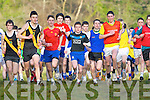 Eventual winner David Kavanagh Mercy Mounthawk takes to the lead ahead of Dan Hawker Kenmare (Orange top) followed closely by Liam Carey ISK (red shirt) at the start of the Intermediate boys race in the Vocational Schools Cross Country championships in Killarney on Wednesday, David's Mounthawk team mate Conor O'Mahony (left) finished a close second