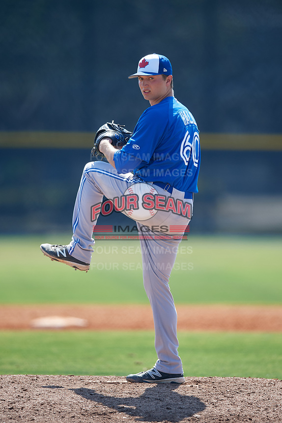 Toronto Blue Jays pitcher Chris Hall (60) during a Minor League Spring Training game against the New York Yankees on March 18, 2018 at Englebert Complex in Dunedin, Florida.  (Mike Janes/Four Seam Images)