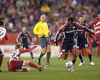 New England Revolution forward/midfielder Kenny Mansally (29) dribbles in traffic. The New England Revolution defeated FC Dallas, 2-1, at Gillette Stadium on April 4, 2009. Photo by Andrew Katsampes /isiphotos.com