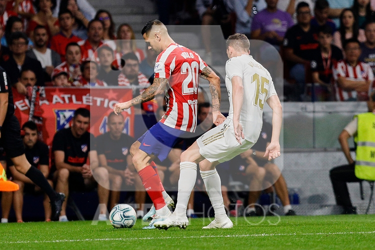 Victor Machin 'Vitolo' of Atletico de Madrid and Fede Valverde  of Real Madrid during La Liga match between Atletico de Madrid and Real Madrid at Wanda Metropolitano Stadium{ in Madrid, Spain. {iptcmonthname} 28, 2019. (ALTERPHOTOS/A. Perez Meca)