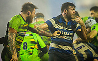 Bath Rugby's Nathan Catt reacts after being head butted by Northampton Saints' Teimana Harrison<br /> <br /> Photographer Bob Bradford/CameraSport<br /> <br /> Anglo-Welsh Cup Semi Final - Bath Rugby v  Northampton Saints - Friday 9th March 2018 - The Recreation Ground - Bath<br /> <br /> World Copyright &copy; 2018 CameraSport. All rights reserved. 43 Linden Ave. Countesthorpe. Leicester. England. LE8 5PG - Tel: +44 (0) 116 277 4147 - admin@camerasport.com - www.camerasport.com