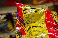 Nutrition labels on products in a supermarket in New York on Thursday, November 7, 2013 tout the amount of trans fat or the lack of in the various foods. The Federal Food and Drug Administration (FDA) has started to eliminate trans fat by declaring that partially hydrogenated oils are no longer generally recognized as safe. (© Richard B. Levine)