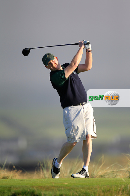 Eoin O'Sullivan (The Island) on the 2nd tee during the South of Ireland Amateur Open Championship Second Round at Lehinch Golf Club  28th July 2013 <br /> Picture:  Thos Caffrey / www.golffile.ie