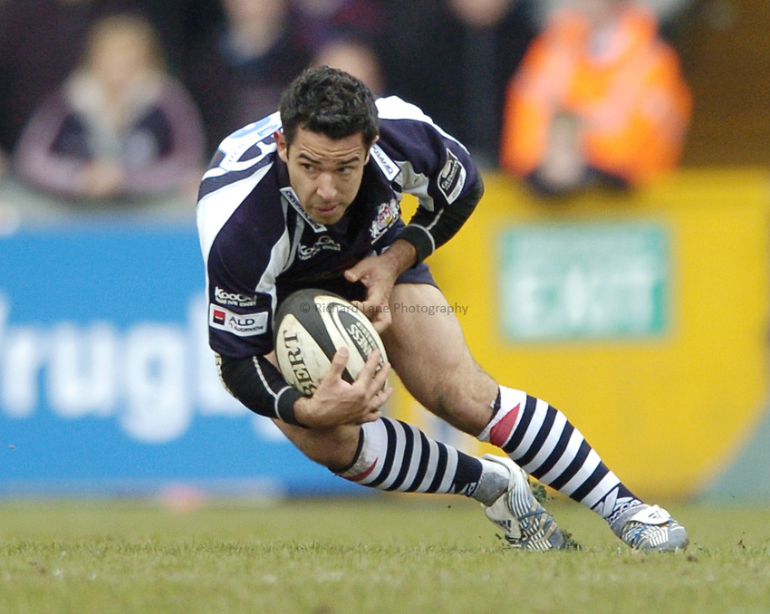 Photo: Jonathan Butler..Bristol Rugby v Northampton Saints. Guinness Premiership. 25/03/2007..Danny Gray of Bristol catches the low ball.