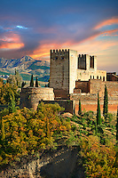 View of the Moorish Islmaic Alhambra Palace comples and fortifications. Granada, Andalusia, Spain.