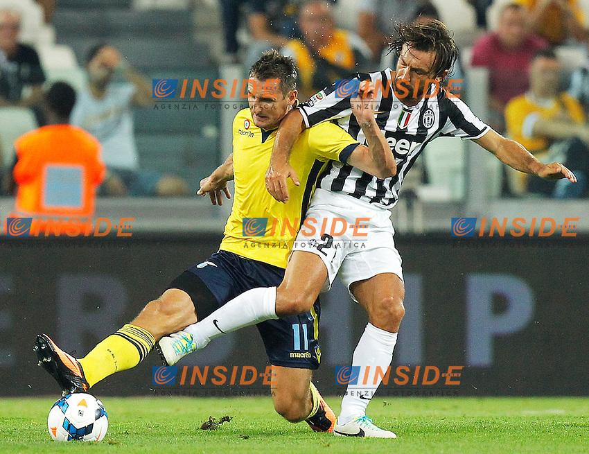 Andrea Pirlo Juventus, Miroslav Klose Lazio,<br /> Torino 31-08-2013<br /> Juventus Stadium <br /> Football Calcio 2013/2014 Serie A <br /> Juventus - Lazio <br /> Foto Marco Bertorello Insidefoto