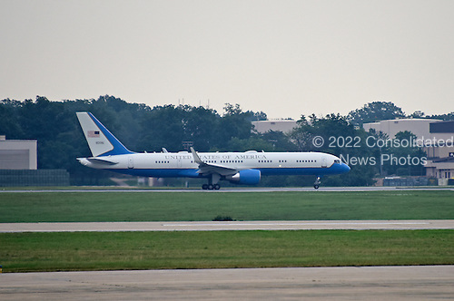 Air Force One, with United States President Barack Obama aboard, taxis for take-off at Joint Base Andrews, in Maryland on Thursday, July 2, 2015.  The designation &quot;Air Force 1&quot; is extended to any airplane transporting the President of the U.S.  For the President's trip to LaCrosse, Wisconsin, the smaller C-32, which is a specially configured Boeing 757-200, was used, instead of the familiar VC-25, probably due to the smaller airport.  In addition to its occasional use for Presidential travel, the C-32 regularly transports the Vice President, the first lady, members of the Cabinet and members of Congress.<br /> Credit: Ron Sachs / Pool via CNP