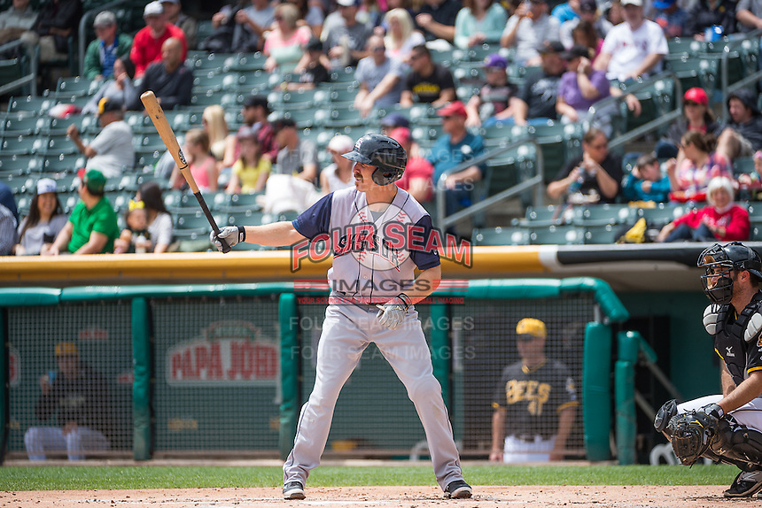 Pete Orr (10) of the Colorado Springs Sky Sox at bat against the Salt Lake Bees in Pacific Coast League action at Smith's Ballpark on May 24, 2015 in Salt Lake City, Utah.  (Stephen Smith/Four Seam Images)