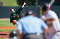 Miami Hurricanes starting pitcher Jeb Bargfeldt (19) delivers a pitch to the plate against the Wake Forest Demon Deacons in Game Nine of the 2017 ACC Baseball Championship at Louisville Slugger Field on May 26, 2017 in Louisville, Kentucky.  The Hurricanes defeated the Demon Deacons 5-2 to advance to the semi-finals.  (Brian Westerholt/Four Seam Images)