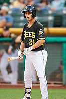 Bo Way (24) of the Salt Lake Bees at bat against the Omaha Storm Chasers in Pacific Coast League action at Smith's Ballpark on May 8, 2017 in Salt Lake City, Utah. Salt Lake defeated Omaha 5-3. (Stephen Smith/Four Seam Images)