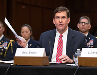 """United States Secretary of the Army Dr. Mark T. Esper testifies before the US Senate Committee on Armed Services during a hearing on """"Chain of Command's Accountability to Provide Safe Military Housing and Other Building Infrastructure to Service members and Their Families"""" on Capitol Hill in Washington, DC on Thursday, March 7, 2019.<br /> Credit: Ron Sachs / CNP/AdMedia"""