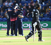 Jun 6th, The SSE SWALEC, Cardiff, Wales; ICC Champions Trophy; England versus New Zealand; England players celebrate the wicket of Kane Williamson of New Zealand