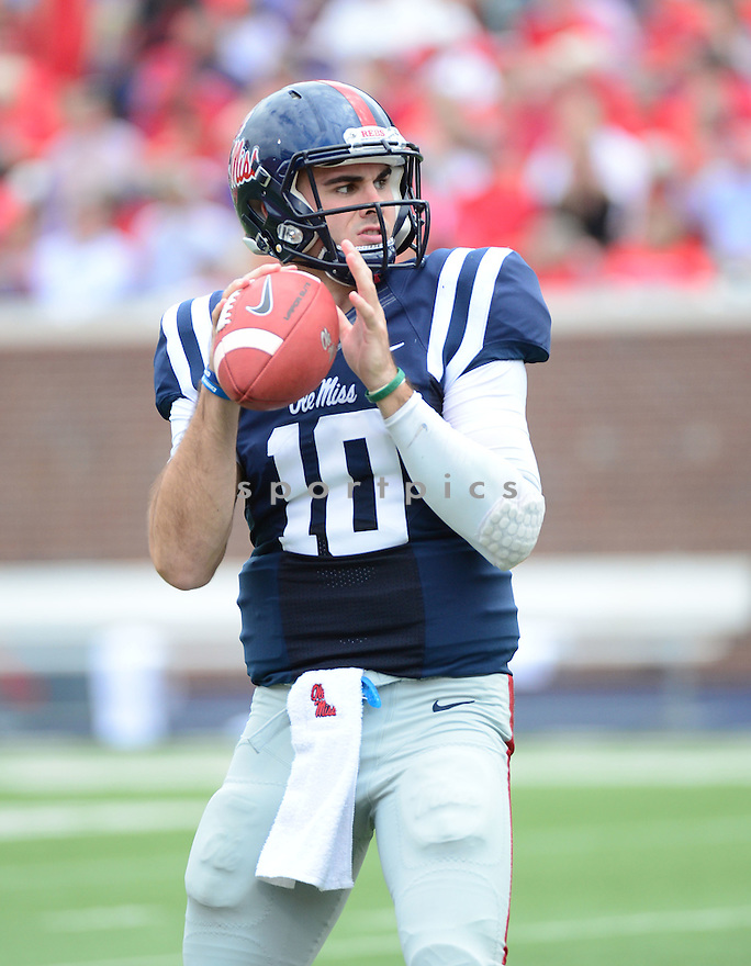 Ole Miss Rebels Chad Kelly (10) during a game against the New Mexico State Aggies on October 10, 2015 at Vaught-Hemingway Stadium  in Oxford, MS. Ole Miss beat New Mexico State 52-3.
