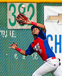 WATERBURY,  CT-072719JS25-- Cyclones Ponce's Alejandro Morales (31) runs down a fly ball in the outfield during their Mickey Mantle World Series game against the D-Bat's (Texas) Saturday at Municipal Stadium in Waterbury.  <br /> Jim Shannon Republican-American