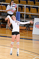 17 November 2011:  Denver defensive specialist/libero Lyndi Johnson (8) serves in the second set as the FIU Golden Panthers defeated the Denver University Pioneers, 3-1 (25-21, 23-25, 25-21, 25-18), in the first round of the Sun Belt Conference Tournament at U.S Century Bank Arena in Miami, Florida.