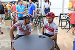 Riders relax in the Vuelta Village before the start of Stage 4 of La Vuelta 2019 running 175.5km from Cullera to El Puig, Spain. 27th August 2019.<br /> Picture: Eoin Clarke | Cyclefile<br /> <br /> All photos usage must carry mandatory copyright credit (© Cyclefile | Eoin Clarke)