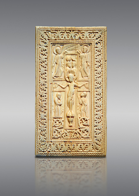 Medieval elephant ivory relief panel depicting the Crucifixtion. From southern Germany or north of Italy, end of 10th or 11th cent. AD. Inv. OA 12231, The Louvre Museum, Paris.