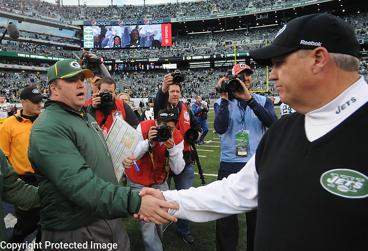 Green Bay Packers head coach Mike McCarthy, left, greets New York Jets head coach Rex Ryan following a 9-0 win at The New Meadowlands Stadium in East Rutherford, NJ on Oct. 31, 2010.