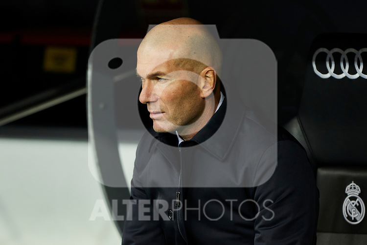 Zinedine Zidane coach of Real Madrid during La Liga match between Real Madrid and Sevilla FC at Santiago Bernabeu Stadium in Madrid, Spain. January 18, 2020. (ALTERPHOTOS/A. Perez Meca)