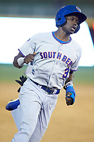 Chris Singleton (3) of the South Bend Cubs rounds third base during the game against the Lansing Lugnuts at Cooley Law School Stadium on June 15, 2018 in Lansing, Michigan. The Lugnuts defeated the Cubs 6-4.  (Brian Westerholt/Four Seam Images)