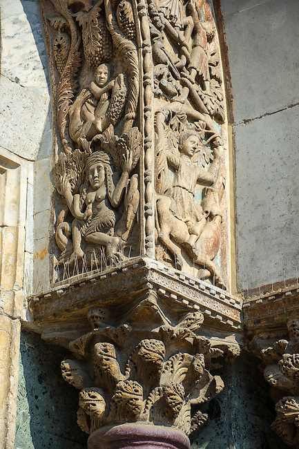 "13th century Medieval Romanesque Sculptures from the facade of St Mark's Basilica, Venice, depicting ""Lust"" ."