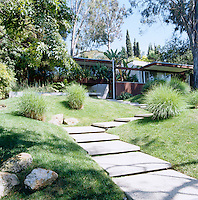 A series of shallow concrete steps lead up from the garden to the low-slung building