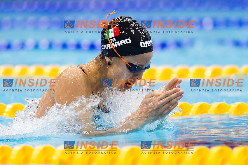 CARRARO Martina ITA<br /> London, Queen Elizabeth II Olympic Park Pool <br /> LEN 2016 European Aquatics Elite Championships <br /> Swimming<br /> Women's 100m breaststroke semifinal <br /> Day 09 17-05-2016<br /> Photo Giorgio Perottino/Deepbluemedia/Insidefoto