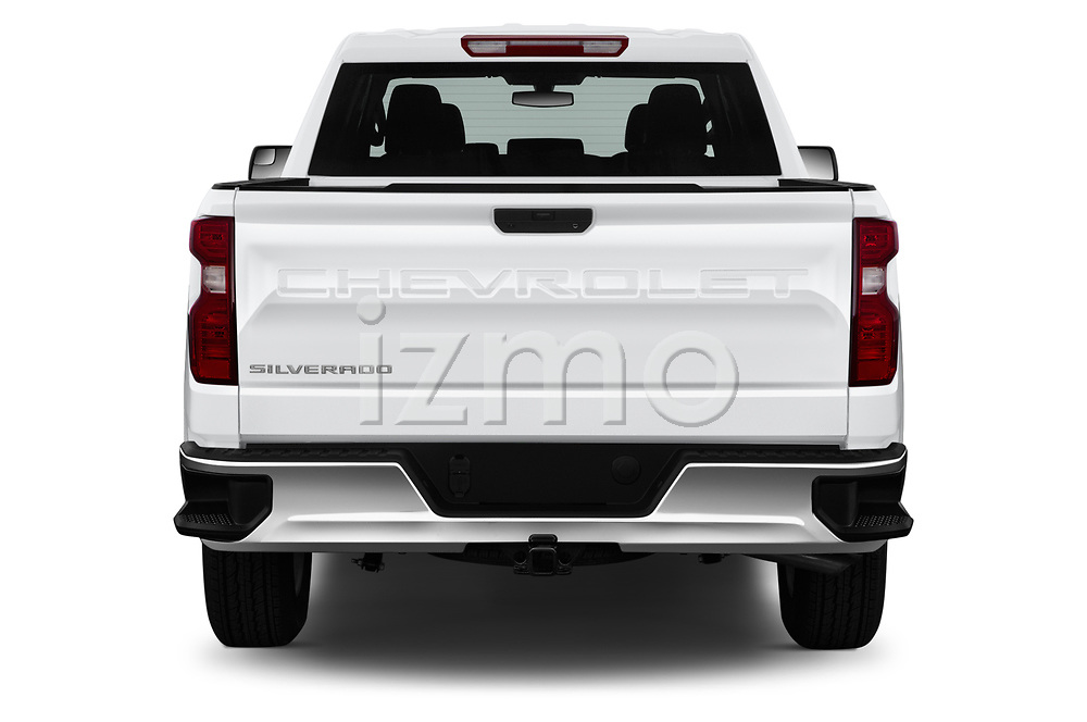Straight rear view of 2020 Chevrolet Silverado-1500 WT 4 Door Pick-up Rear View  stock images