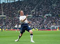 Spurs Legends Robbie Keane celebrating his goal during the Tottenham Hotspur Legends v Inter Milan Legends during the 2nd test event at Tottenham Hotspur Stadium, High Road, London, England on 30 March 2019. Photo by Andrew Aleksiejczuk / PRiME Media Images.