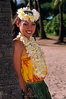 Hula dancer, Waikiki, Honolulu, Hawaii USA