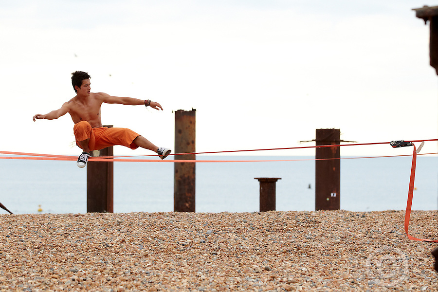 Slackline Brighton , July 2011 pic copyright Steve Behr / Stockfile