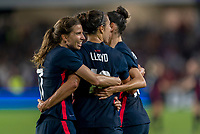 ORLANDO, FL - MARCH 05: Tobin Heath #17 of the United States celebrates with Carli Lloyd #10 during a game between England and USWNT at Exploria Stadium on March 05, 2020 in Orlando, Florida.