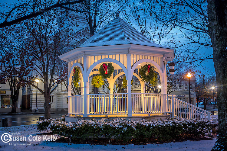 A holiday season snowfall at Central Square in Keene, New Hampshire, USA
