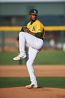 AZL Athletics Gold starting pitcher Robin Vazquez (46) during an Arizona League game against the AZL Rangers on July 15, 2019 at Hohokam Stadium in Mesa, Arizona. The AZL Athletics Gold defeated the AZL Athletics Gold 9-8 in 11 innings. (Zachary Lucy/Four Seam Images)