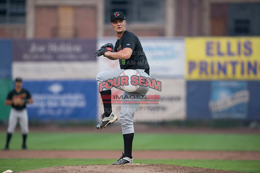 Great Falls Voyagers relief pitcher Chris Comito (19) delivers a pitch during a Pioneer League against the Ogden Raptors at Lindquist Field on August 23, 2018 in Ogden, Utah. The Ogden Raptors defeated the Great Falls Voyagers by a score of 8-7. (Zachary Lucy/Four Seam Images)
