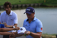 Pedro Oriol (ESP) and Paul Dunne (IRL) siding autographs at the 18th during Round 3 of the HNA Open De France at Le Golf National in Saint-Quentin-En-Yvelines, Paris, France on Saturday 30th June 2018.<br /> Picture:  Thos Caffrey | Golffile