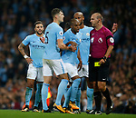 Kyle Walker of Manchester City glares at referee Robert Madley after he was sent off during the Premier League match at the Eithad Stadium, Manchester. Picture date 21st August 2017. Picture credit should read: Simon Bellis/Sportimage