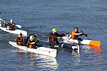 La Conner, Swinomish Channel, open water race, Sound Rowers Open Water Rowing and Paddling Club, Washington State, Pacific Northwest,  USA, RtoL Kirk Christensen, Shane Martin, Shaun Sullivan and Larry Goolsby, Eric Borgnes