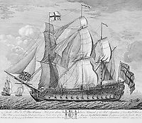 BNPS.co.uk (01202 558833)<br /> Pic: BU/BNPS<br /> <br /> HMS Invincible after her capture by the British - her design proved much better than British ships of the day and let to a transformation of the Royal Navy.<br /> <br /> Fascinating artefacts salvaged from a historic gun ship which sunk off the British coast 261 years ago have gone on display for the first time.<br /> <br /> The French built ship is credited with transforming the Georgian Royal Navy after its capture in 1747 when trials revealed it was sleeker and better armed than British warships of the day.<br /> <br /> Unfortunately HMS Invincible  became wrecked on a shallow sand bank in the Solent in 1758 when en route to fhelp fight the French in Canada.<br /> <br /> The wreck, which is three nautical miles from Portsmouth, Hants, was first discovered by a fisherman in shallow 25ft waters 40 years ago. However, changing sea bed levels in the past few years have left it more exposed to the elements, leading to fears the relics could deteriorate.<br /> <br /> This prompted archaeologists to carry out a full scale excavation, with 1,458 dives taking place between 2017 and 2019 - during which nearly 2,000 artefacts were recovered.<br /> <br /> The array of new finds, including the ship's enormous cutwater - the forward curve of the ship's stem - have now been unveiled at the MAST Archaeological Centre in Poole, Dorset. They will eventually go on display at the National Museum of the Royal Navy in Portsmouth.<br /> <br /> Mr Pascoe said the HMS Invincible's innovative longer, streamlined design was copied by the British who adopted it on their ships up until the Battle of Trafalgar (1805).