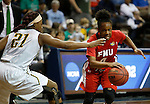 SIOUX FALLS MARCH 22:  Camille Dash #4 of Francis Marion drives past Keiahnna Engel #21 of Alaska Anchorage during their quarterfinal game at the NCAA Women's Division II Elite 8 Tournament at the Sanford Pentagon in Sioux Falls, S.D.  (Photo by Dick Carlson/Inertia)