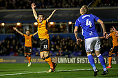 4th December 2017, St. Andrews Stadium, Birmingham, England; EFL Championship football, Birmingham City versus Wolverhampton Wanderers; Léo Bonatini of Wolverhampton Wanderers scores in the 8th minute and check the linesman to confirm he was on side,  1-0 to Wolverhampton Wanderers