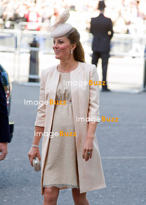 KATE, DUCHESS OF CAMBRIDGE<br /> joined The Queen and other members of the Royal Family for  A Service to Celebrate the 60th Anniversary of the Coronation Service at Westminster Abbey, London_04/06/2013<br /> Members of the Royal Family attending the Service included The Prince of Wales and The Duchess of Cornwall, The Duke and Duchess of Cambridge, Prince Henry of Wales, The Duke of York and Princesses Beatrice and Eugenie, The Earl and Countess of Wessex and The Lady Louise Mountbatten-Windsor, The Princess Royal, Vice Admiral Sir Tim Laurence, Peter Phillips and Autumn (Kelly) Phillips, Zara (Phillips) Tindall and Mike Tindall, The Duke and Duchess of Gloucester, The Duke and Duchess of Kent, Prince and Princess Michael of Kent