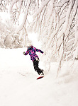 Snowboarder Emma Shapera on a powder day at Middlebury Snow Bowl