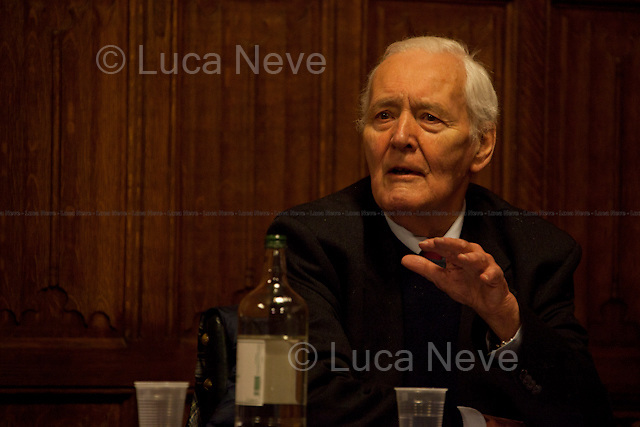 """Tony Benn. British politician - 2012<br /> <br /> London, 20/03/2012. """"Defend The Right To Protest"""" organised a meeting at the House of Commons called """"Is Protesting Becoming A Crime"""". The discussion analysed the British situation related to the increasing of the prison population in the last few years, especially more cases involving young people; the arrests made by police officers in connection with the student protests; the police brutality, like in Alfie Meadows case who is also charged for """"violent disorder"""". Speakers included: Tony Benn, John McDonnell MP, Susan Matthews, Alfie Meadows, Matt Foot, Jelena Timotijevic, Jeremy Corbin MP, Marcia Rigg, Morgan Wild, Maggie Mitchell, John Hemming MP."""