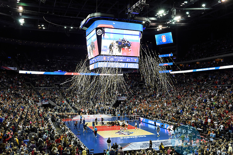 COLUMBUS, OH - DECEMBER 17:  Stanford University celebrates their victory over the University of Texas during the Division I Women's Volleyball Championship held at Nationwide Arena on December 17, 2016 in Columbus, Ohio.  Stanford defeated Texas 3-1 to win the national title. (Photo by Jamie Schwaberow/NCAA Photos via Getty Images)