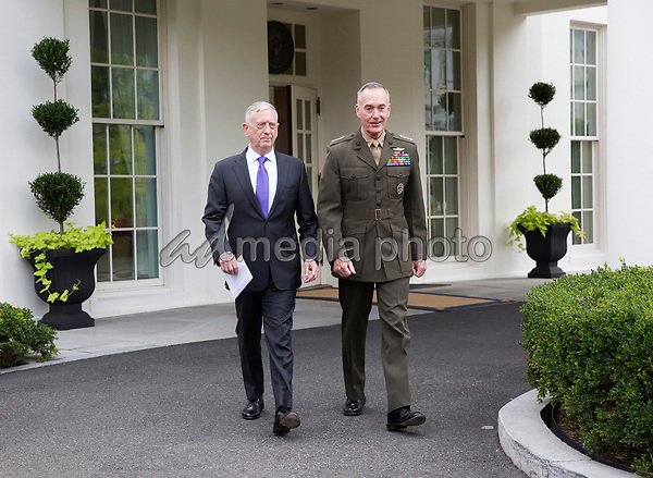 United States Secretary of Defense James Mattis makes a statement on a possible military response to the recent North Korea missile launch with the Chairman of the Joint Chiefs of Staff US Marine Corps General Joseph Dunford at The White House, September 3, 2017. Photo Credit: Chris Kleponis/CNP/AdMedia