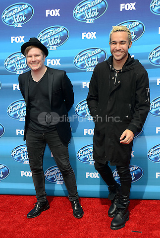 HOLLYWOOD, CA - MAY 13: Patrick Stump and Pete Wentz arriving at the 2015 American Idol Season 14 Finale at the Dolby Theatre on May 13, 2015 in Hollywood, California. Credit: PGTW/MediaPunch