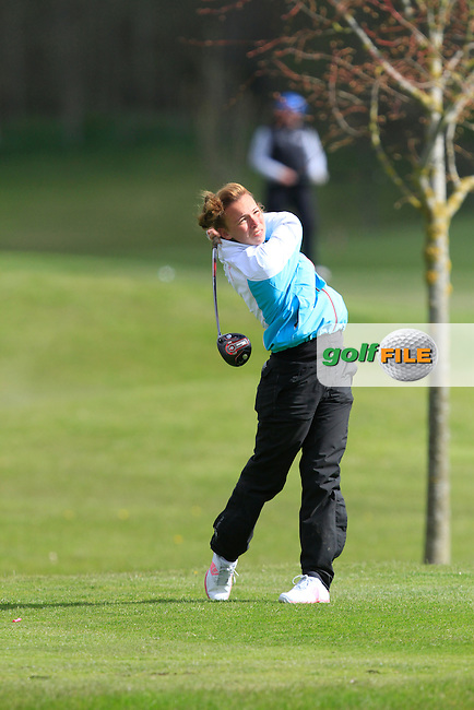 Ainee O'Connor (ENG) on the 13th tee during Round 1 of The Irish Girls Open Strokeplay Championship in Roganstown Golf Club on Saturday 18th April 2015.<br />