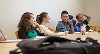 Occidental College associate biology professor and director of the Vantuna Research Group Daniel Pondella teaches a class in Fowler Hall, Feb. 12, 2013.<br /> (Photo by Marc Campos, Occidental College Photographer)
