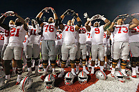 The Ohio State Buckeyes sing Carmen Ohio following a 49-21 win over the Indiana Hoosiers in Thursday's NCAA Division I football game at Memorial Stadium in Bloomington, Ind., on August 31, 2017. [Barbara J. Perenic/Dispatch]